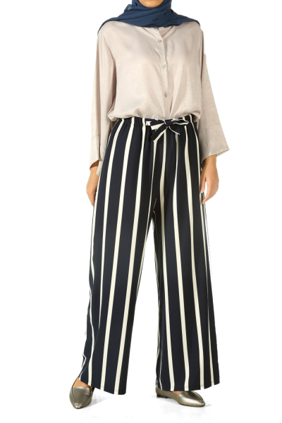 HIJAB ELASTIC WAIST STRIPED PANTS