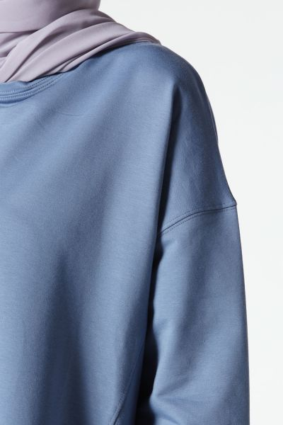 Crew Neck Flared Combed Cotton Tunic