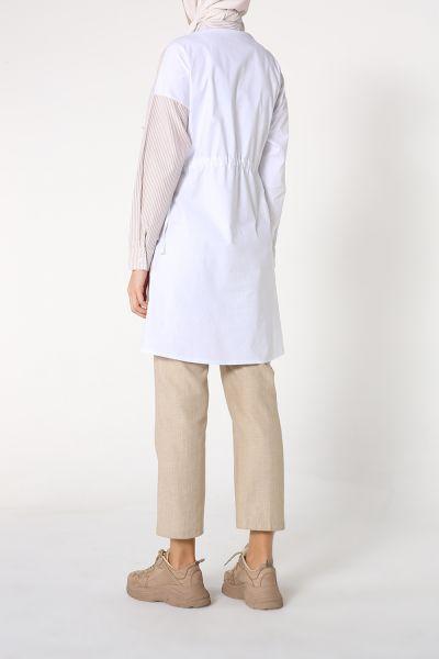Çizgili Bel Lastikli Gömlek Tunik