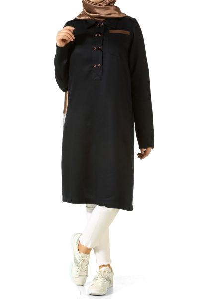 LEATHER TWO BUTTON TUNIC