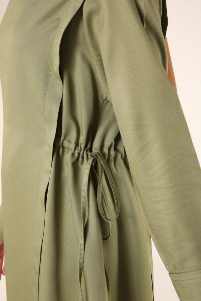 Doğal Kumaş Yanlardan Bağlamalı Pantolonlu Takım