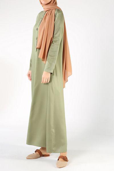 Düğme Detaylı Kloş Elbise