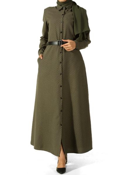 Düğmeli Kemerli Elbise