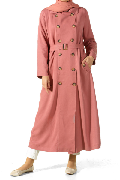 BELTED LINED TRENCHCOAT WITH BUTTON