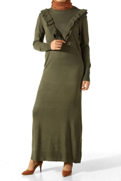 Göğsü Fırfırlı Triko Elbise