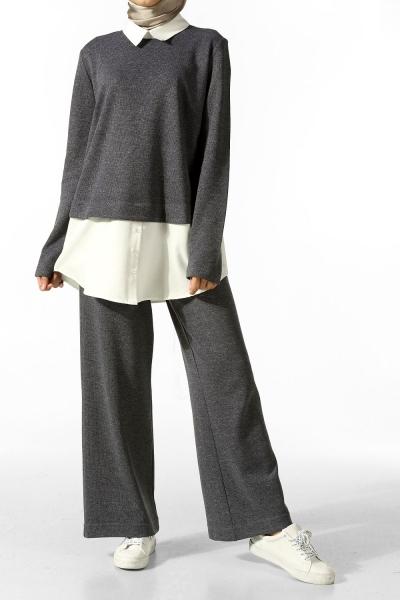 Gömlek Garnili Tunik & Pantolon Takım