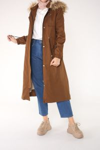 HOODED LINED COAT