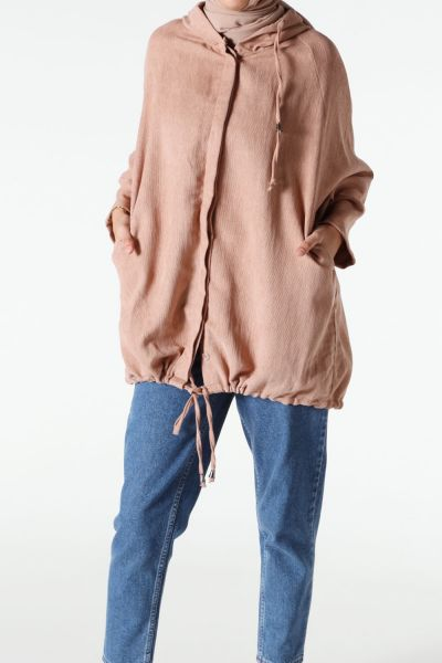Kapüşonlu Yarasa Kol Ceket