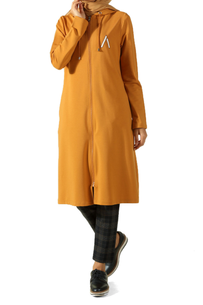 HOODED TUNIC WITH ZIPPER