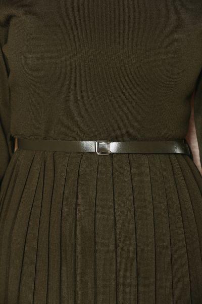 Kemerli Pliseli Triko Elbise