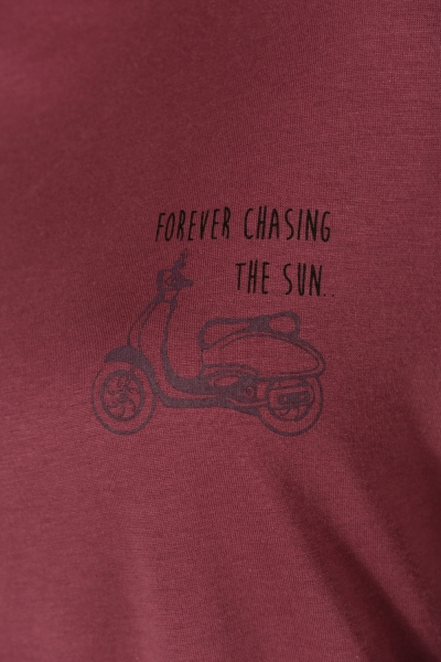 Motorsiklet Baskılı Penye Tunik