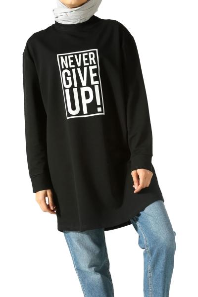 Never Give up Baskılı Sweatshirt