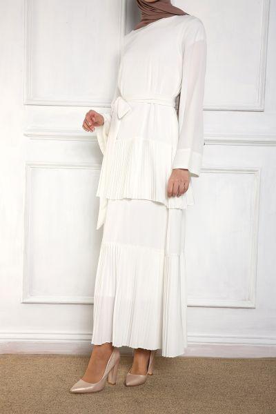 She Sea Kuşaklı Astarlı Fırfırlı Elbise