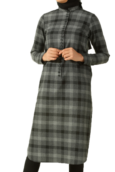 BUTTON PLAID TUNIC