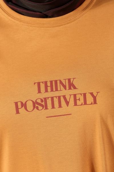 Think Positively Baskılı Penye Tunik