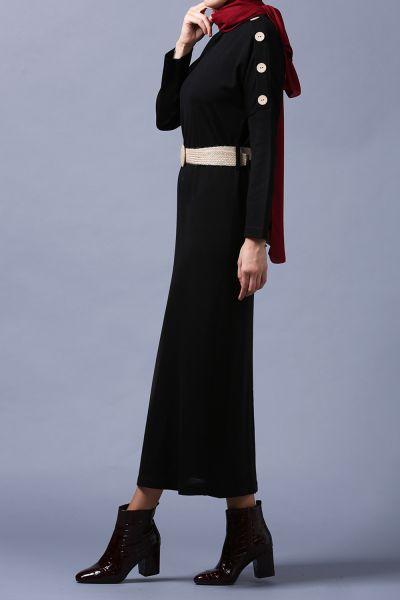 Kemerli Kol Düğmeli Triko Elbise