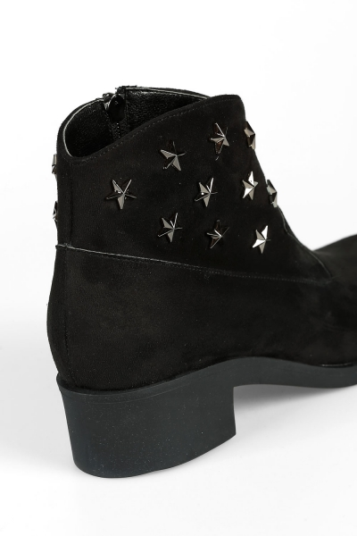 STUDDED SUEDE BOOT WITH ZIPPER